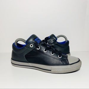 Converse Black Gray Blue Leather Low-Top Sneakers